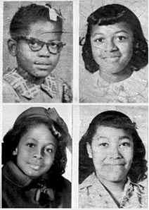 The four girls killed in the bombing (Clockwise from top left, Addie Mae Collins, Cynthia Wesley, Carole Robertson and Carol Denise McNair)